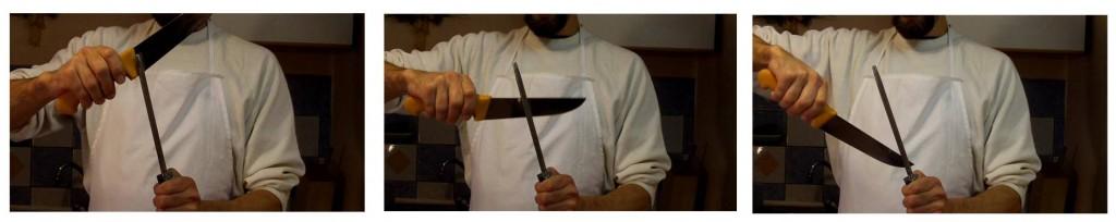 Messer schärfen Klinge über Wetzstahl schieben